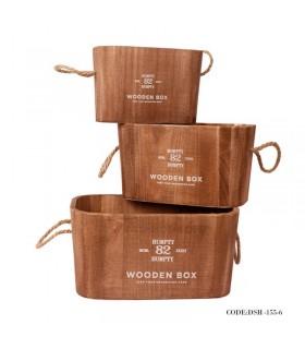 فلاور باکس چوبی بیضی قهوه ای