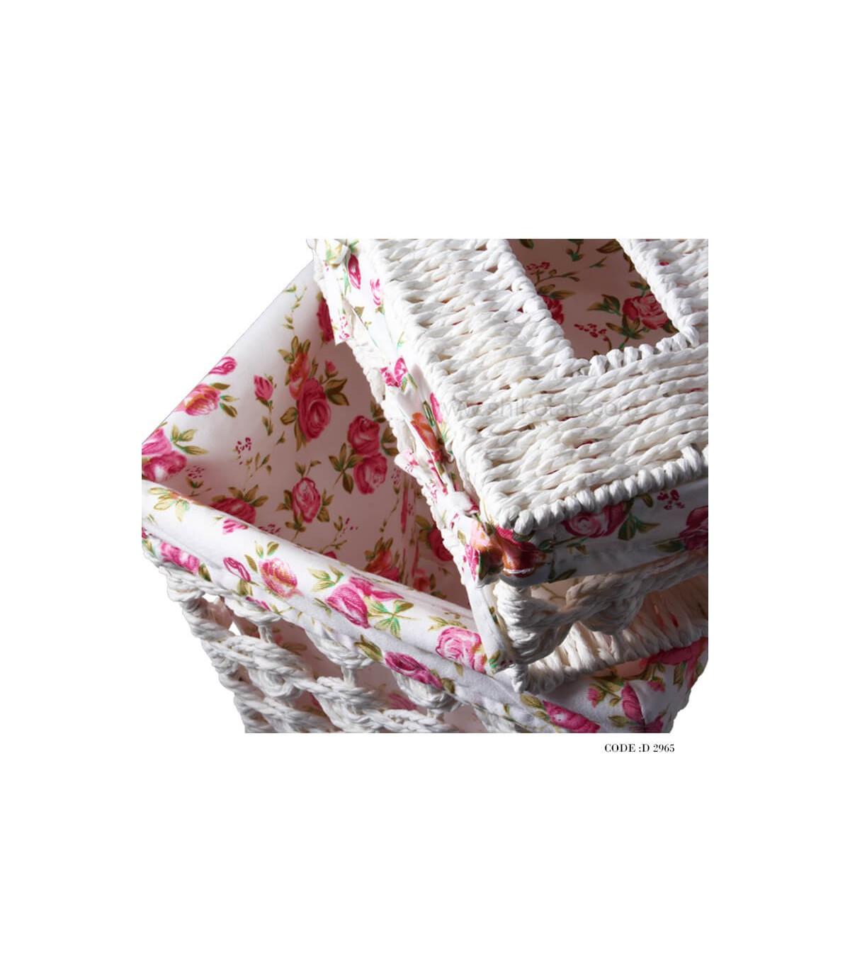 سرویس سطل و جادستمالی سفید گلدار