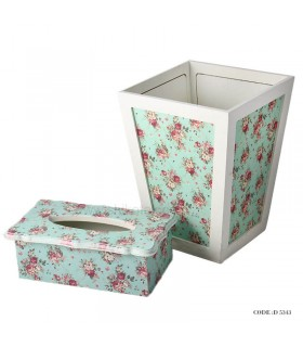 سرویس سطل و جا دستمالی گلدار