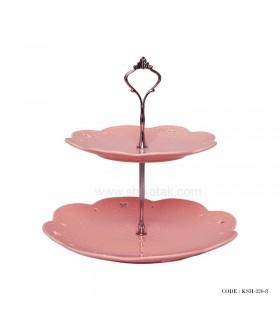 شیرینی خوری دو طبقه صورتی طرح انگلیش هوم