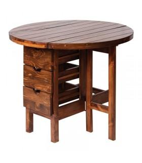 میز ناهار خوری گرد تاشو کشو دار 4 نفره