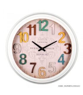 ساعت دیواری فلزی سفید سریPORTLAND