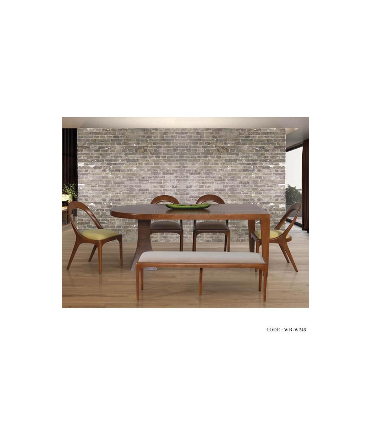 میز و صندلی ناهار خوری طرح بیضی نیمکت دار شش نفره
