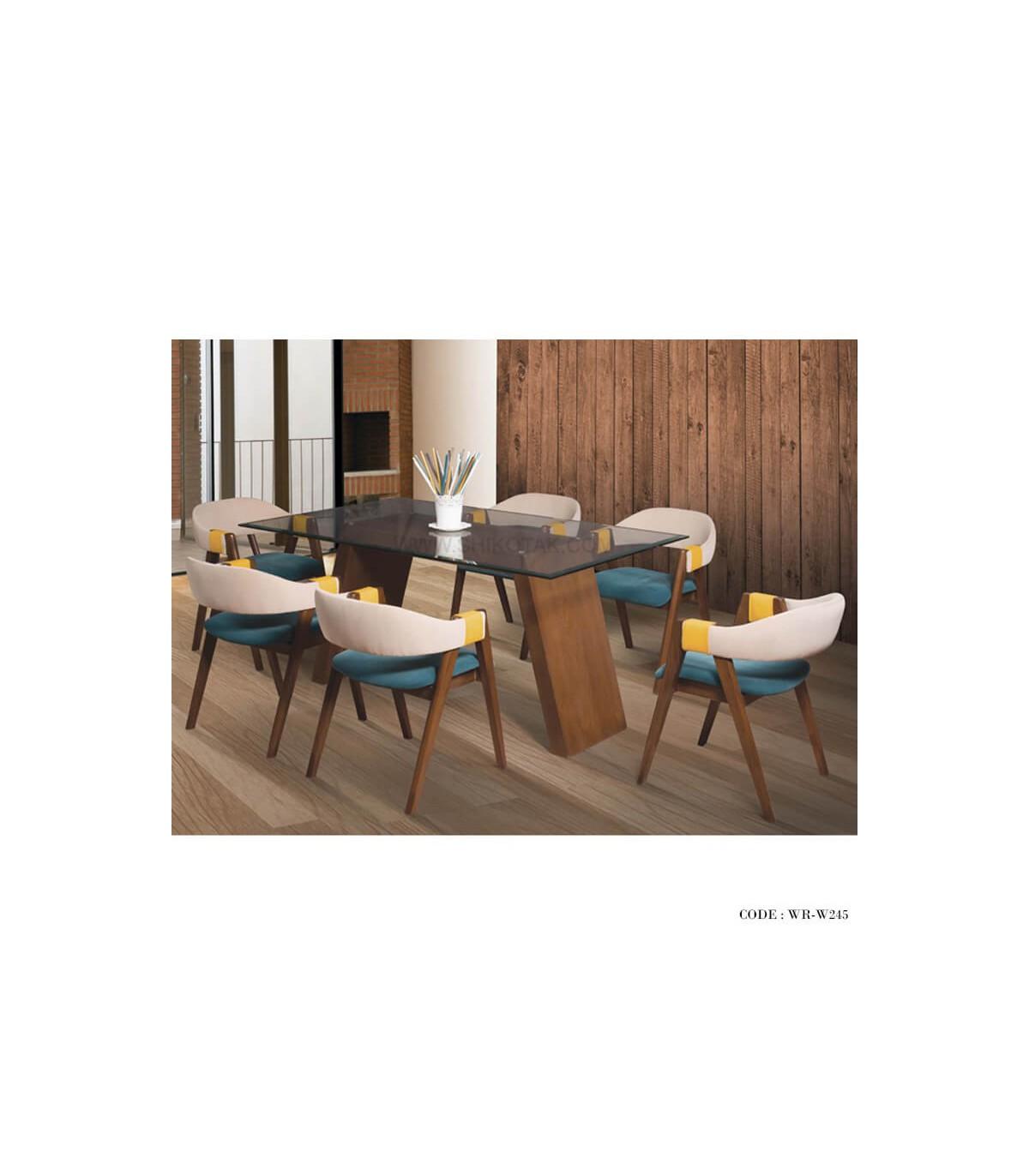 سرویس ناهار خوری 6 نفره میز شیشه ای