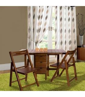 ست صندلی و میز غذا خوری کمجای تاشوی دو نفره چوبی