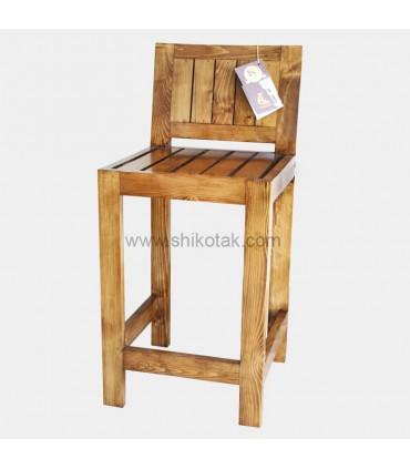 تصویر ناهار خوری 4 نفره چوبی طرح میز پایه بلند