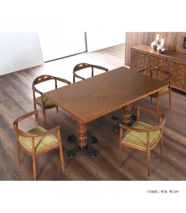 سرویس میز و صندلی ناهار خوری پایه خراطی شش نفره مدل 249