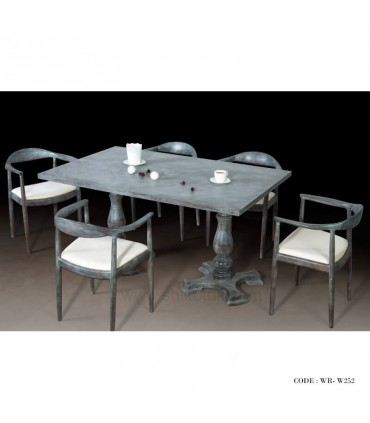 خرید اینترنتی سرویس میز و صندلی ناهار خوری پایه خراطی شش نفره مدل 249