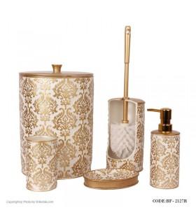 لوازم سرویس بهداشتی طرح اسلیمی رنگ سفید-طلایی