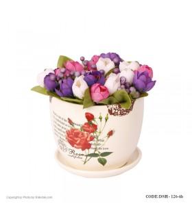 گلدان سرامیکی مدل گل سرخ لبه طرح دار