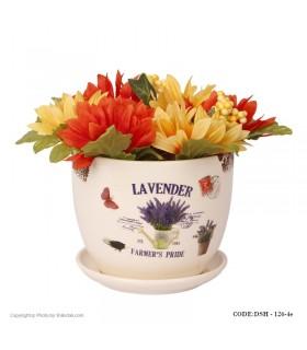 گلدان سرامیکی مدل لاوندر  لبه طرح دار