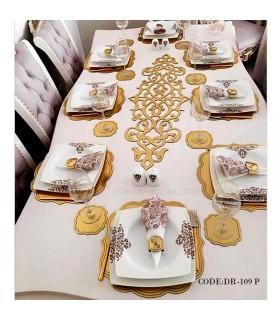 ست رومیزی ناهارخوری شش نفره طلایی مدل 109