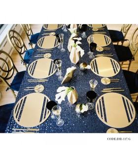 سرویس زیر بشقابی و زیر لیوانی شش نفره طلایی مدل 117