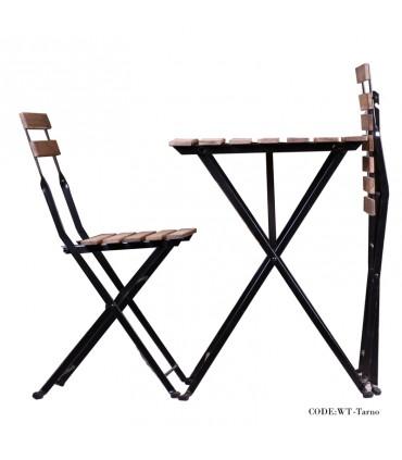 تصویر میز و صندلی دو نفره تاشوی تولیکا مدل TARNO