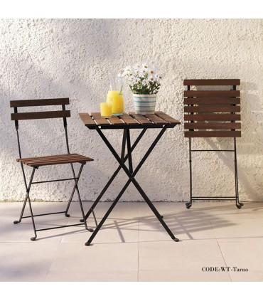 میز و صندلی دو نفره تاشوی تولیکا مدل TARNO رنگ گردویی