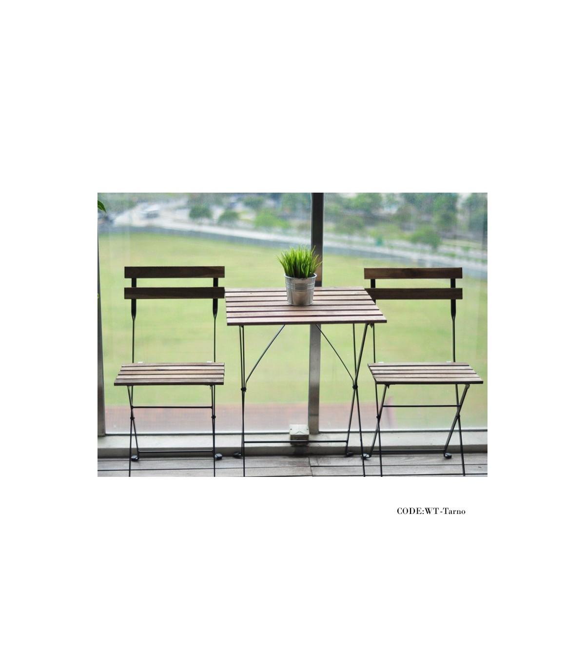 میز و صندلی دو نفره تاشوی تولیکا مدل TARNO