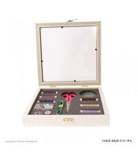 جعبه خیاطی سفید مربع چوبی مدل 9707