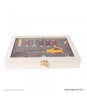 جعبه لوازم خیاطی سفید مستطیلی چوبی مدل 9708