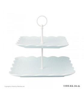 شیرینی خوری دو طبقه مربع طرح دار مدل BLUE