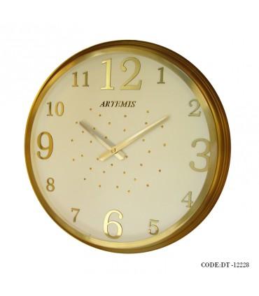 ساعت دیواری فلزی نگینی طلایی صفحه سفید