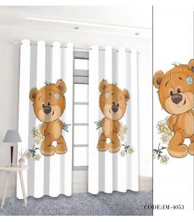 پرده اتاق خواب کودک خرس مهربان مدل 4053