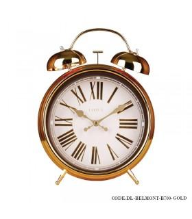 ساعت رومیزی شماطه دار عدد رومی مدل BELMONT طلایی