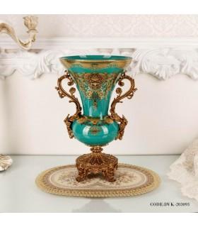 گلدان تزئینی سلطنتی فیروزه ای سری 093