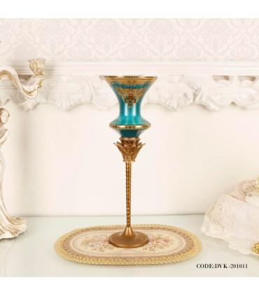 شمعدان سلطنتی آبی فیروزه ای سری 011
