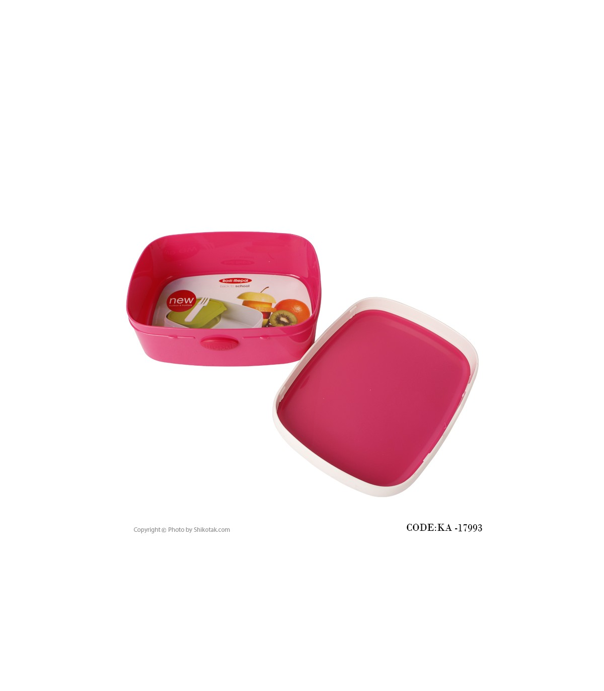تصویر ظرف غذای دربدار صورتی مدل لاله