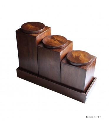 بانکه حبوبات سه عددی چوبی مدل نرگس