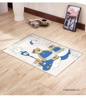 پادری و فرش فرش اتاق کودک طرح خانواده آبی مدل 95