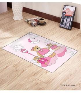 پادری و فرش فرش اتاق کودک طرح خانواده صورتی مدل 96