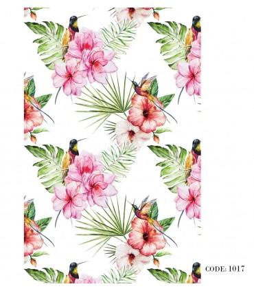 خرید پرده زبرا با طرح هاوایی و گل