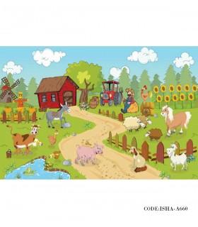 خرید آنلاین پوستر پارچه ای دیواری کودکانه مدل مزرعه