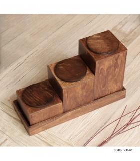 ست سه عددی جای حبوبات چوبی