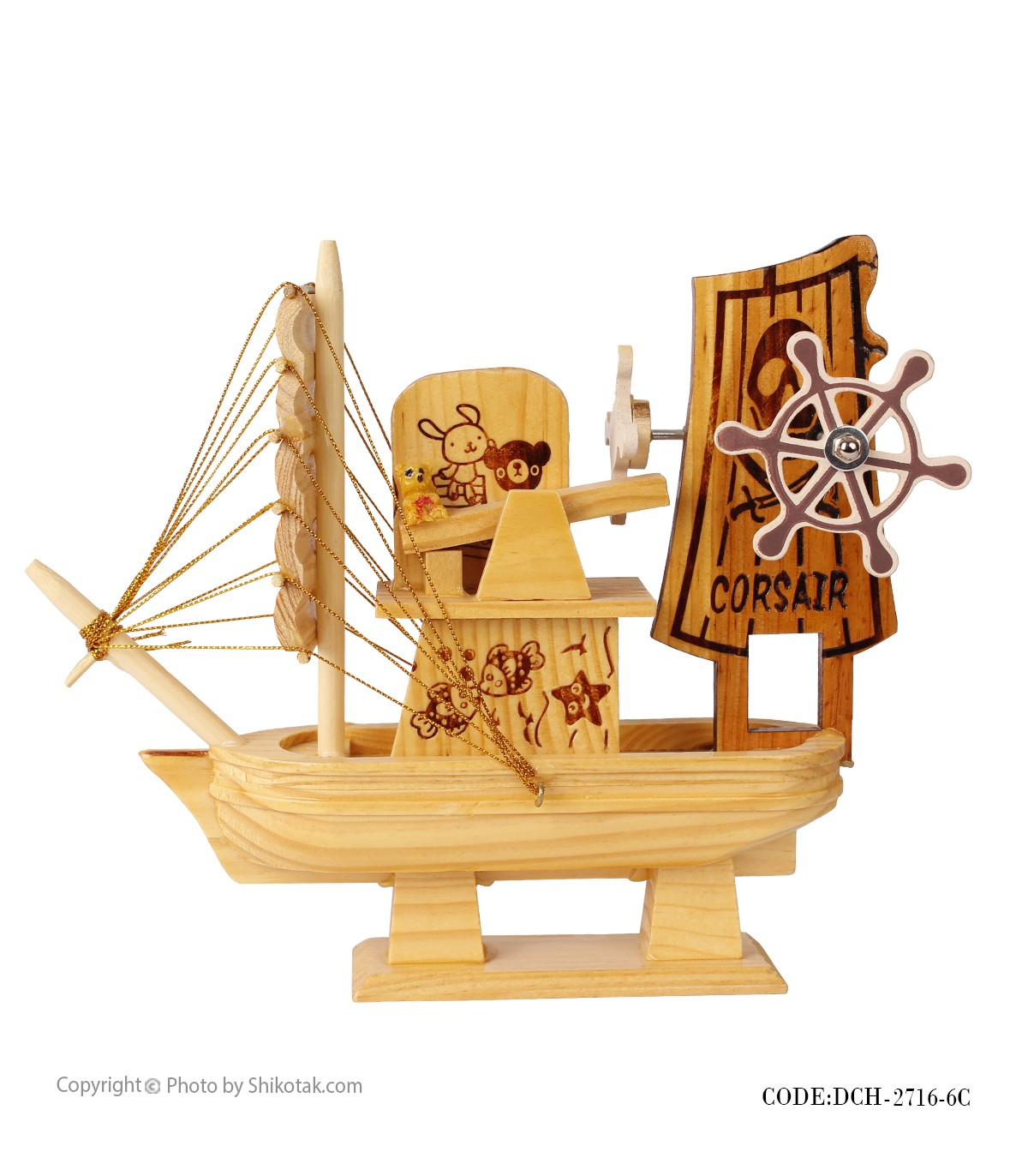 خرید کشتی دکوری چوبی موزیکال سری 6C