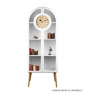 خرید ویترین کتابخانه چوبی ساعت دار با درب شیشه ای مدل WOODLYN
