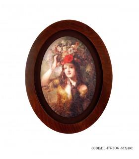 خرید تابلو چوبی بیضی طرح دختر گل به سر