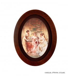 تصویر تابلو چوبی بیضی طرح ضیافت
