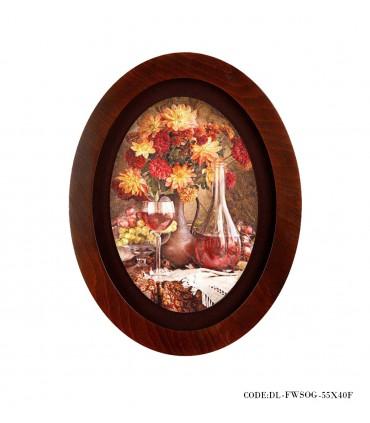 خرید تابلو چوبی بیضی طرح گلدان