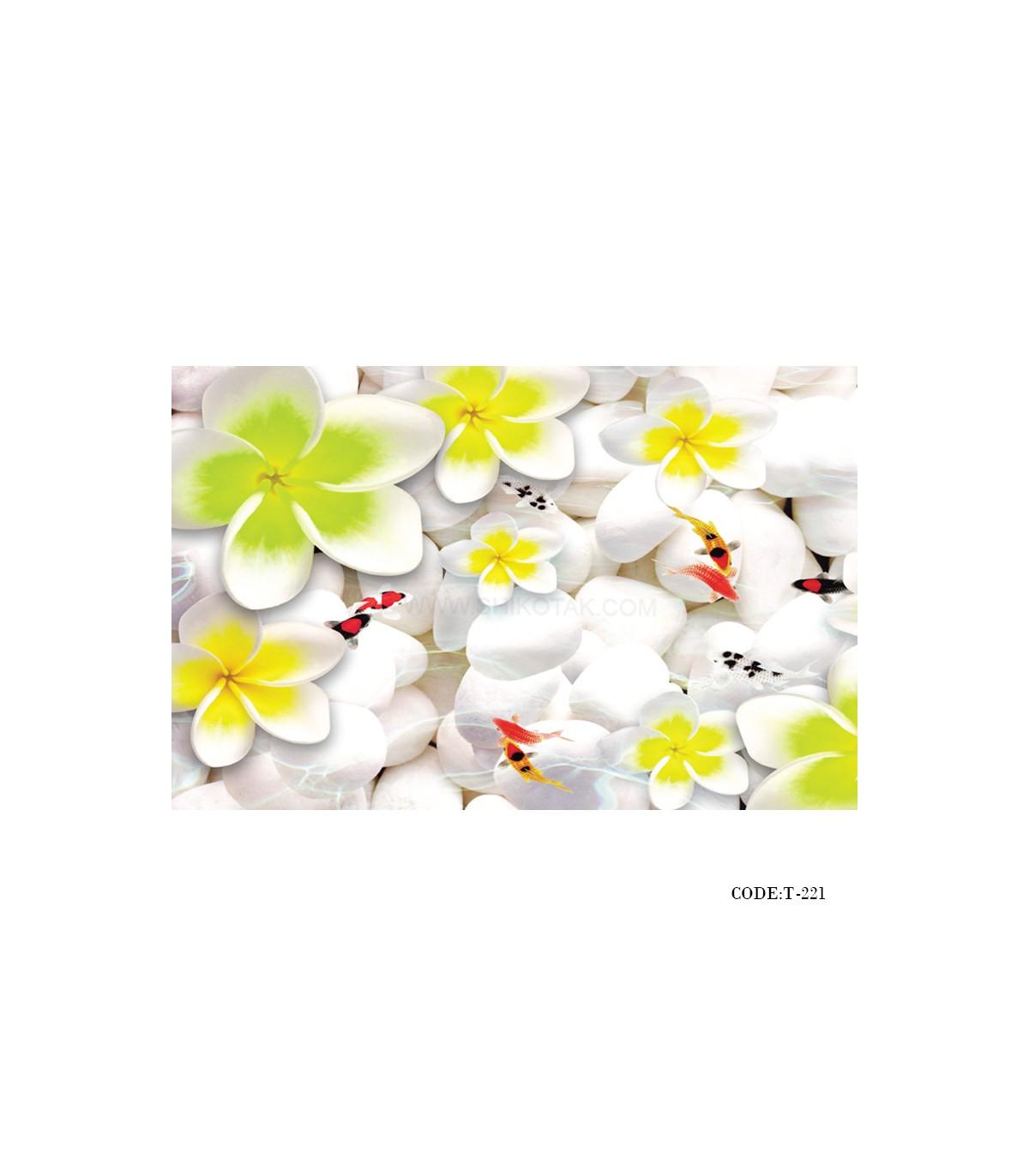 تصویر پوستردیواری سه بعدی پارچه ای طرح گلهای بهار
