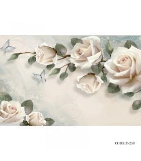 عکس پوستر پارچه ای دیواری سه بعدی طرح رز سفید