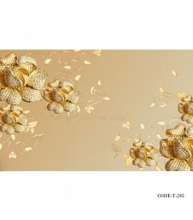 خرید اینترنتی پوستر کاغذی دیواری 3D طرح گل طلایی