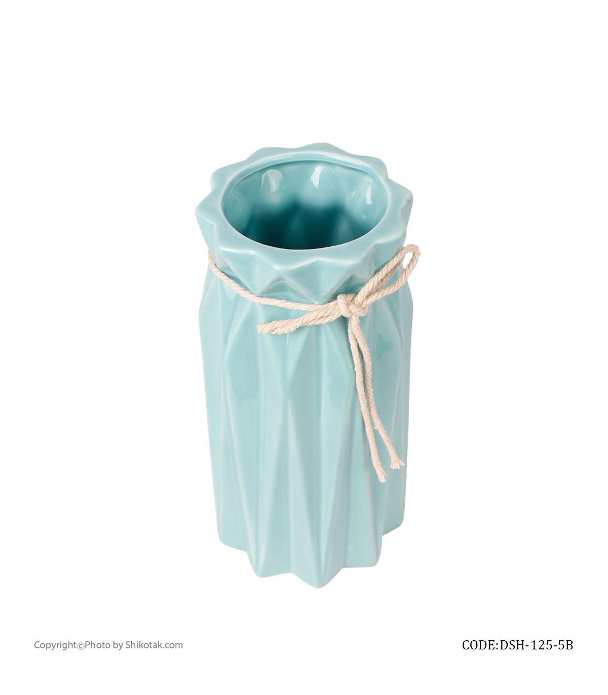 قیمت گلدان گل سرامیکی فانتزی بلند آبی