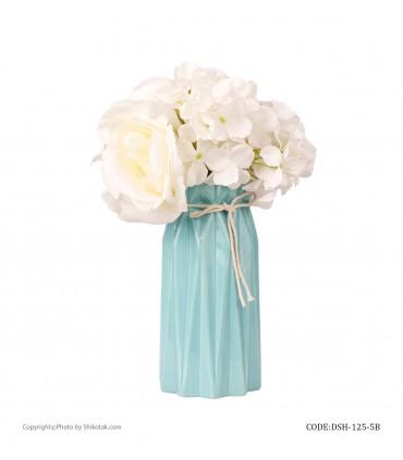 خرید گلدان گل سرامیکی فانتزی بلند آبی