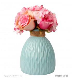 خرید آنلاین گلدان طرحدار سرامیکی آبی لبه کنفی