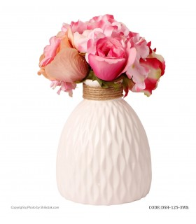 خرید آنلاین گلدان سفید سرامیکی طرحدار لبه کنفی