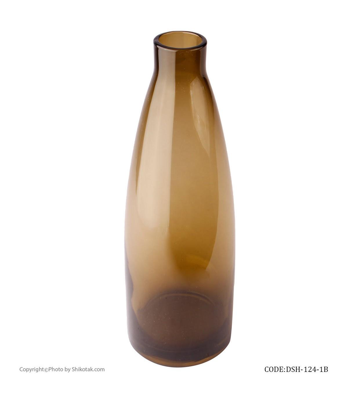 مدل گلدان شیشه ای رومیزی طرح بطری بژ