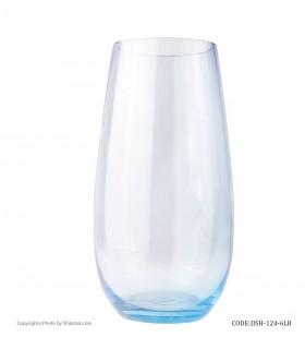 گلدان شیشه ای رومیزی پافیلی آبی رنگ
