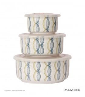 ظروف سه تکه چینی داخل یخچال طرح آبی و زرد